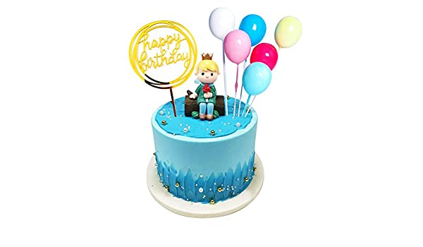 Magnificent 8 Pcs Birthday Cake Toppers Of Cute Stump Little Prince Balloon Funny Birthday Cards Online Overcheapnameinfo