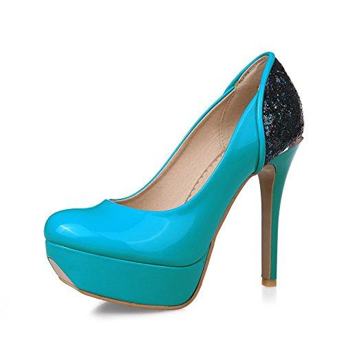 4643d235b0d694 VogueZone009 Damen Ziehen Auf Hoher Absatz Pu Leder Eingelegt Rund Zehe  Pumps Schuhe Blau