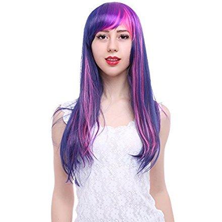 L-email™Damen 55cm lange gerade gemischte lila / rosa My Little Pony Twilight Sparkle cosplay Perücken CB28+ free Perücke Kappe - Best Selling Kostüm