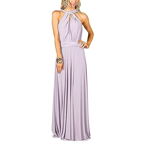 Robe de soirée longue pour femme Robe de soirée à plusieurs étages (S, Violet clair)