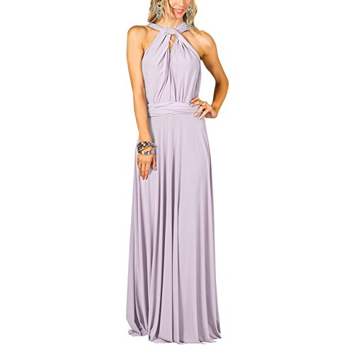 Frauen Sexy Lange Abendkleid bodenlangen Multi-Way Party Kleider (S, Helles Lila) (Lila Flapper Kleider)