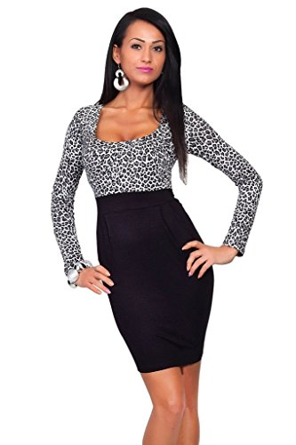 BOMOVO Damen Fashion U-Ausschnitten Leoparden Minikleid Animal Print Minikleid Party Cocktail Kleid Grau-Leoparden