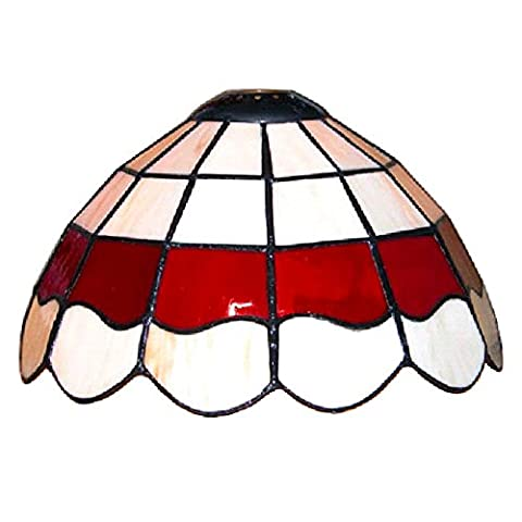 Tiffany Style White And Red Stained Glass Pendant Light Shade