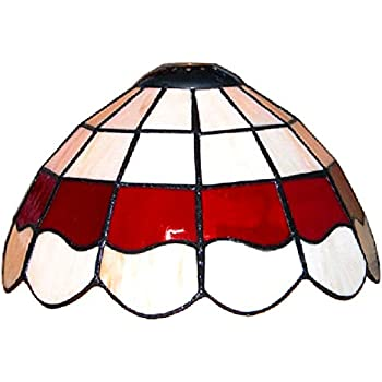 Tiffany Style White And Red Stained Glass Pendant Light Shade ...