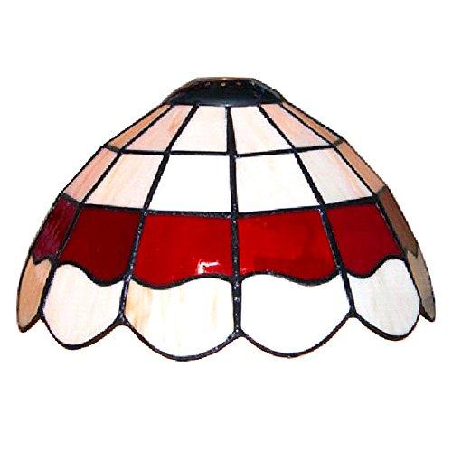 Lampenschirm aus weißer und roter Glasmalerei im Stil von Louis Comfort Tiffany (Glasmalerei Lampenschirm)