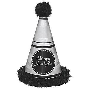 Amscan-25036913en Negro/Plata marabú cono sombrero feliz año nuevo
