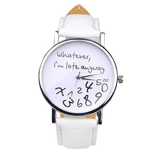 "Popbop Damen Unisex Faux Leder ""Whatever, I\'m Late Anyway\"" Analog Digital Quartz Uhren Armbanduhren Wrist Watch Weiß"