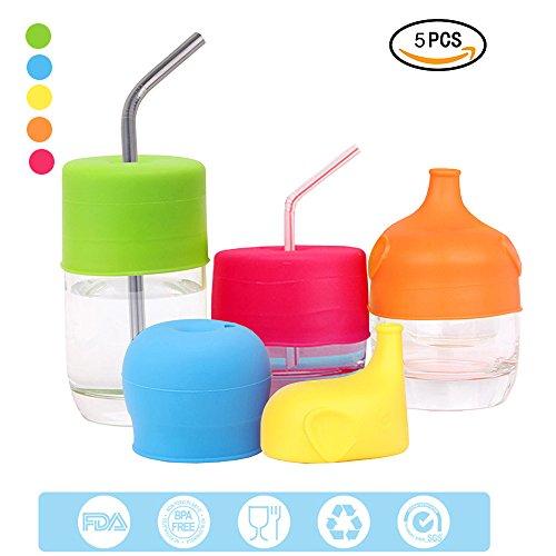 nabeltasse Deckel, mlovesie jedes Cup auslaufsicher Training oder Flasche Deckel, verwandelt jeden Tasse oder Glas zu einer Schnabeltasse, BPA-frei, auslaufsicher für Babys Kleinkinder und Kinder (Stroh Tassen Für Kleinkinder)