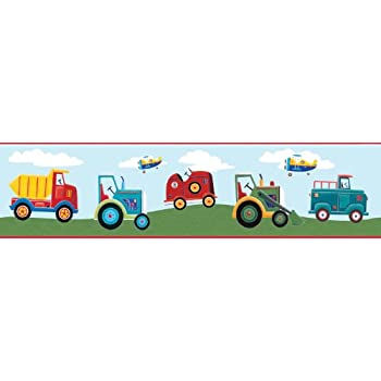 RoomMates Repositionable Childrens Wall Sticker Border   Transport