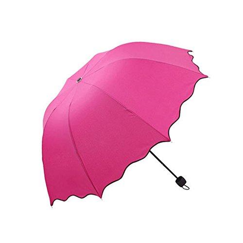 PANGUN Honana Hn-Ku5 Multicolor Flouncing Dome Sonnenschirm Klapp Schirm Sonne Regen Wind Für Lady Girls-Rose