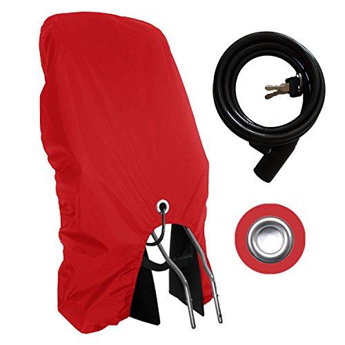MadeForRain Sportlicher Regenschutz für Fahrradkindersitz mit Diebstahlschutz - CityFrog Sport AntiTheft - Tomatenrot