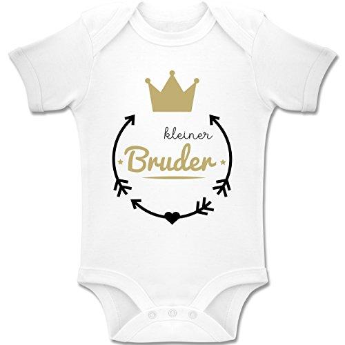 Shirtracer Geschwisterliebe Baby - Kleiner Bruder - Krone - 3-6 Monate - Weiß - BZ10 - Baby Body Kurzarm Jungen Mädchen