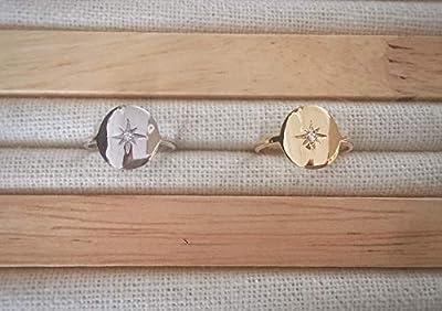 Bague étoile du nord avec zirconium - bague étoile - bague médaille en Argent 925 ou plaqué Or