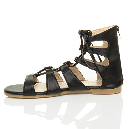 Donna piatto allacciare arrotolare cinturino infradito gladiatore sandali numero Nero opaco