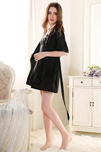 Rainbow Fox Femmes vêtement de nuit sexy vêtements de nuit Creux conception Soie Satin Chemise de nuit pour Dame Black