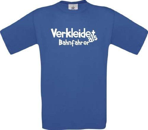 Shirtinstyle Camiseta T-Shirt Verkleidet als Conductor del tren Disfraz De Carnaval Revestimiento muchos colores Kultshirt S-XXL - Royal, XXL
