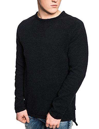 Bellfield Da Uomo Maglione Girocollo ciniglia Jumper-lunga linea, colore: nero Black Small