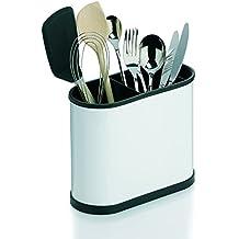 Besteckkorb Besteck-Ständer Metall Weiß 17cm Utensilienhalter Besteckbehälter