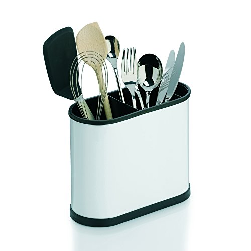 Kela Benito Cutlery Holder, Stainless Steel, Black/White, 22 x 10 x 18 cm