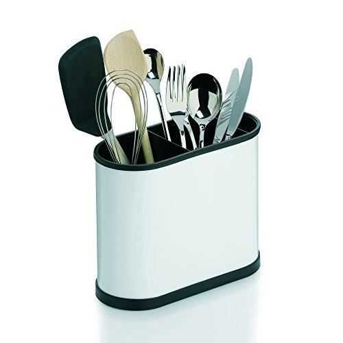 """Kela """"Benito"""" Cutlery Holder, Stainless Steel, Black/White, 22 x 10 x 18 cm"""