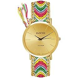 Dalas MINGBO Bijou V6 Beach Style Women's Watch Braided Bracelet Colour Red Yellow Green Gold Watch Blogger Arabic Numerals Hippie Boho Festival Women's World Map: Friendship Bracelet