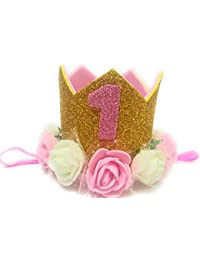Happiness 1 Pc Gold, Pink and White Rose Flower 1St Birthday,Cake Smash Hat Glitter Crown Cap Flower Head Band for Baby Girls