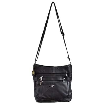 Ladies Leather Cross Body Bag / Shoulder Bag. ( Black )