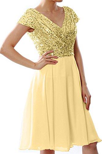 MACloth Women Cap Sleeve Short Bridesmaid Dress Sequin Wedding Party Formal Gown (44, Light Gold)