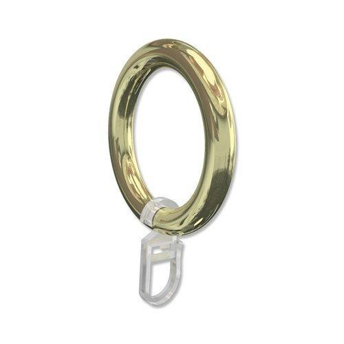 Interdeco Gardinenstangen Ringe mit Faltenhaken / Gardinenringe in Messing-farbig / Kunststoff für 28 mm Ø (10 Stück)
