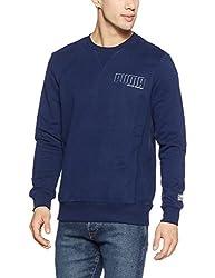 Puma Mens Round Neck Cotton Sweatshirt (4057828808406_85101216_Medium_Blue Depths)