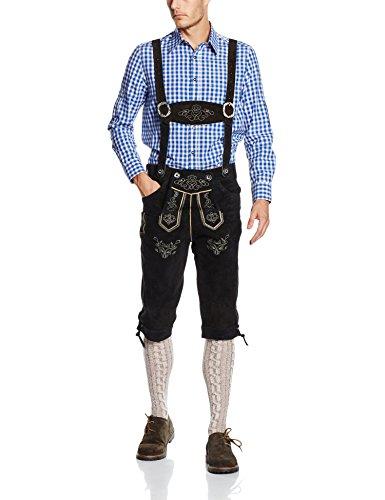Gaudi-Leathers Herren Trachten Lederhose Kniebund mit Träger in Schwarz (Schwarz 050), W34 (Herstellergröße: 46)