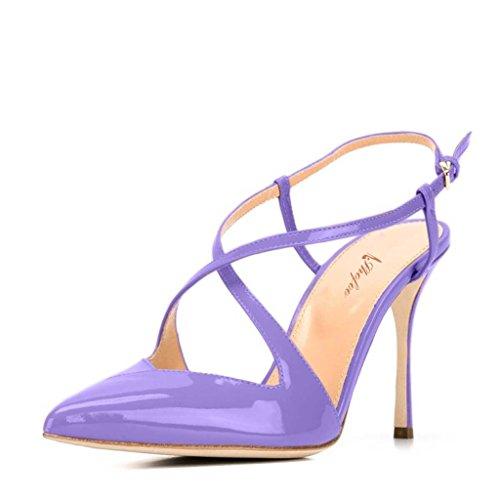 SHOFOO - Femmes - Escarpins - Cuir synthétique - Bride de cheville - Plusieurs coloris - Talon aiguille - Bout pointu fermé Violet