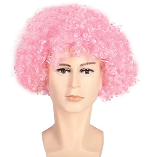 �r Frauen, Mann - Menschliche Nicht Lockige Kunsthaarfaser - Passend Für Cosplay Und Kostüm-Partyshaarteil,Pink (Gehen Team Pink Kostüme)