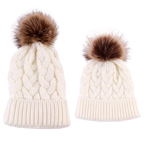 Lamdoo 2Pieces Mutter Kind Kind Hüte Warme Winter Strickmütze Caps Mama Baby Crochet Hats - Weiß Crochet Net Bag