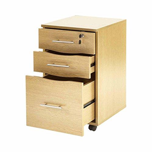 Cajonera madera haya 3 cajones debajo escritorio