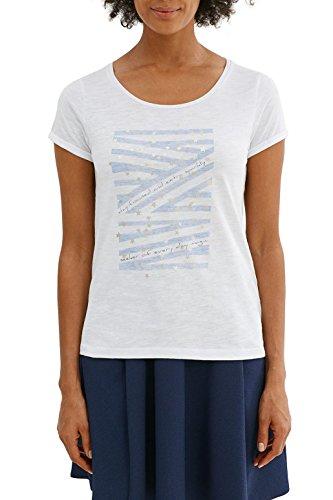 edc by Esprit 037cc1k025, T-Shirt Femme Blanc (White)