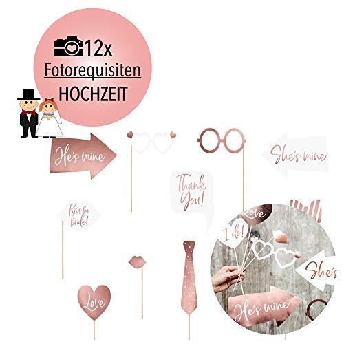 L+H Hochzeit Photo Booth Requisiten | Hochwertige Requisiten in der Farbe Roségold | Fotorequisiten ideal für den Wedding Fotoautomat, Fotobox, Selfies, Foto-Session, JGA, Brautschauer, Party Deko