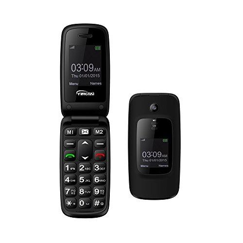 Prepaid Wireless Cell Phone (YINGTAI T16 GSM 2G Senioren Klapphandy große tasten, Handy entsperrt mit Doppelter Bildschirm,Kamera, Audio, Video, Bluetooth etc telefon senioren (Schwarz))