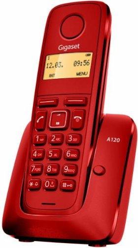 """Siemens Gigaset A120 - Teléfono inalámbrico (DECT, pantalla 1.4"""", 50 contactos), color rojo"""