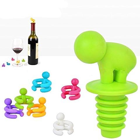 EQLEF® 1 jeu (7 pièces) de silicone mignon Bouteille de vin avec bouchon en verre Wine Makers, couleur