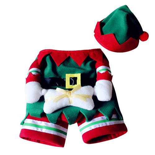 Weihnachts-Kostüm für Hunde und Katzen, mit Kapuze, für Weihnachten, warme Party-Anzug für Teddy, Weihnachten Kostüm Festliche Geschenke