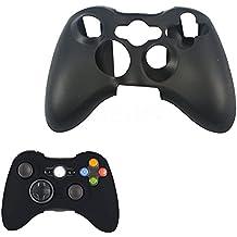 Microware Xbox 360 Silicone Wireless Controller Skin Protective Rubber Case Cover (Black)