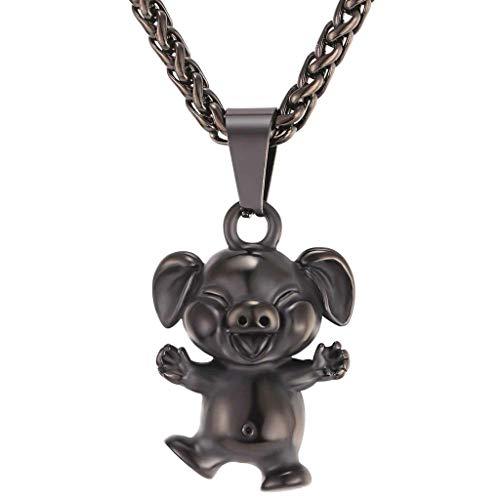 XIAOJING Charm-Halskette. Halskette mit Anhänger Year of The Pig, Edelstahl, goldfarben Gr. Einheitsgröße, Schwarz -