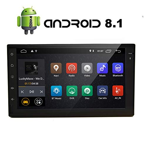 Android 8.1 Oreo Auto Stero Multimedia-Player mit 7 Zoll-kapazitiven Touch Screen Quad Core 2 GB + 16 GB Bluetooth 4.0 GPS-Navigation WiFi 3G 4G Spiegel Verbindung Funk OBD2 1080P Bunte Knopf-Licht -