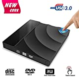 CD DVD Drive esterno, Inpher USB 3.0 CD DVD +/-RW masterizzatore bruciatore con controllo touch, trasferimento dati ad alta velocità, slim portatile per laptop desktop PC Windows/Vista/Linux/Mac OS