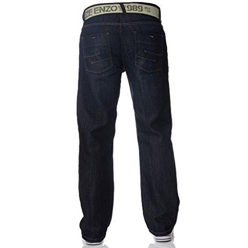 ZE Enzo Enzo Herren Arbeit einfach gerade normaler Schnitt Passform blau Gürtel Jeans Große Größen in 2 Farben erhältlich dunkel Stein Wash