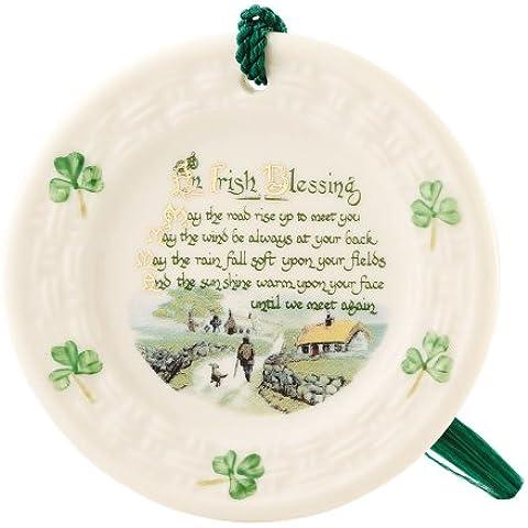 Belleek bendición irlandesa pintado a mano y hecho a mano ornamento Colgante - Irish 6-9 días
