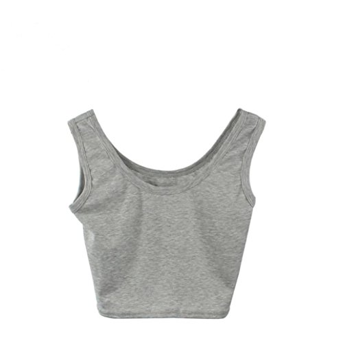 TWIFER Damen Tight Crop Top Rundhals T-Shirts Sport Dance Kurz Tank Tops (Baumwolle, Blaue Ärmelloses Top V-ausschnitt,)