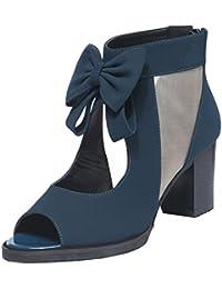 c4f93252ad4380 passionow Frauen Peep Toe Mid High Heel Stiefelette mit Reißverschluss  hinten