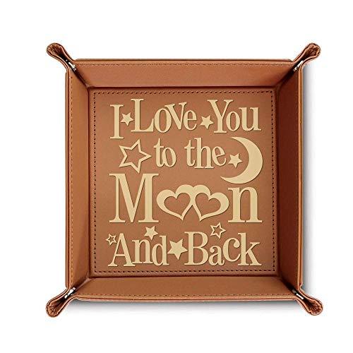 Bella Bus Leder-Tablett mit Gravur I Love You to The Moon and Back, Geschenkidee für Ehefrau, Rohleder (Rawhide) braun -